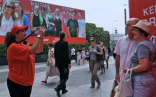 Two images of the Colgate Million smiles experientail activity