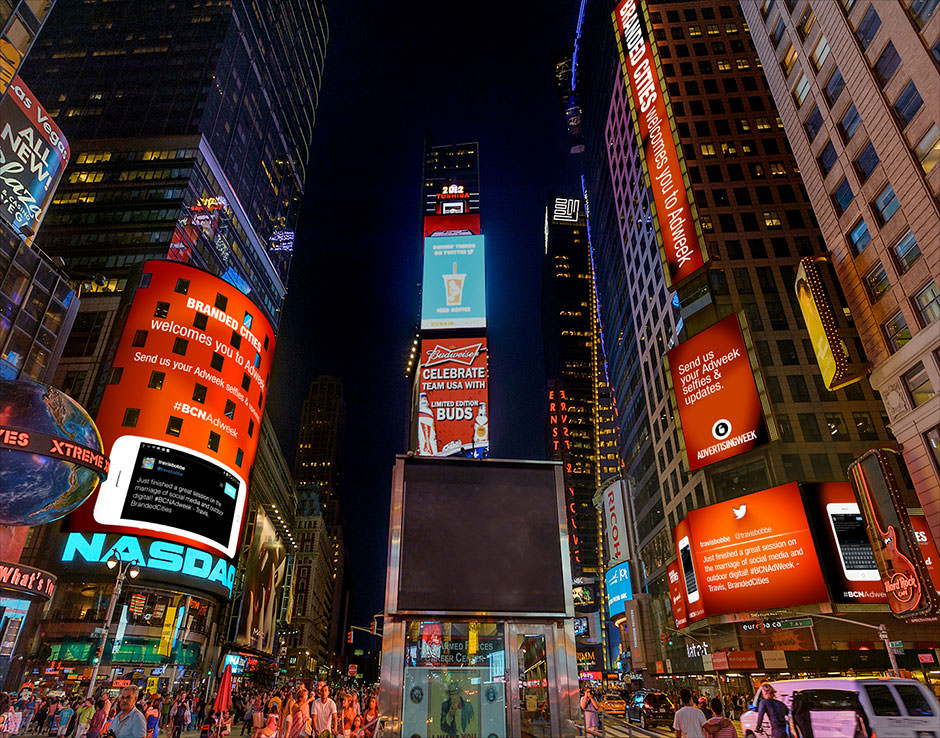 A photo of the Branded Cities dynamic DOOH activation in Times Square during New York Adweek
