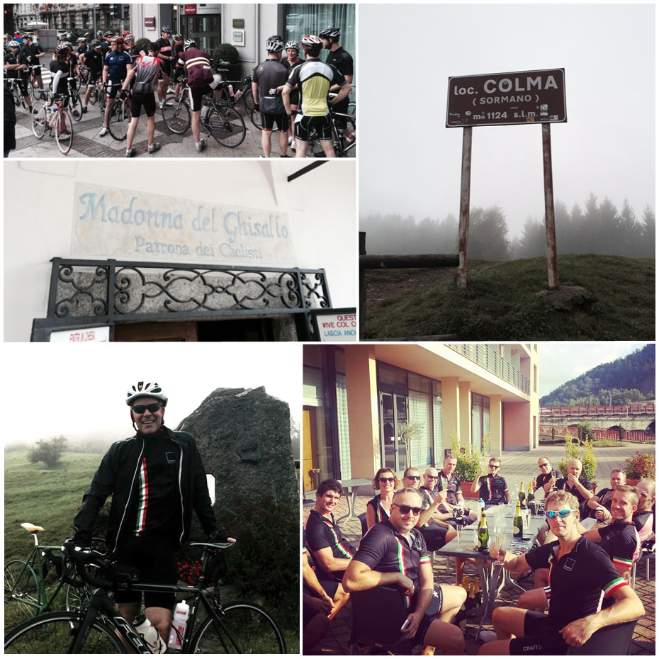 A collage of photos from the Kinetic Tour of Lombardy charity bike ride raising funds for the Alzheimer's Society
